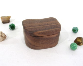 Black Walnut Wood Box, engagement ring box, proposal box, guitar pick box, ring bearer box, groom gift, wood anniversary, jewelry box