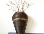 coiled bamboo vase - large rattan flower vase - brown floor basket urn