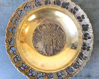vintage brass bowl - embossed floral Korean tray - Asian chinoiserie boho nature decor