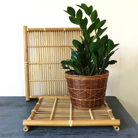bamboo plant stands - square wooden trivet tiles - asian decor - boho style