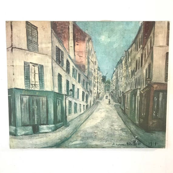 vintage giclee on canvas - Street in Paris - Maurice Utrillo - Parisian city boho wall decor