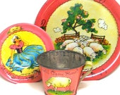 1930's tin toy tea set, Little Bo Peep. Storybook graphics by Ohio Art Co.  3 piece setting.