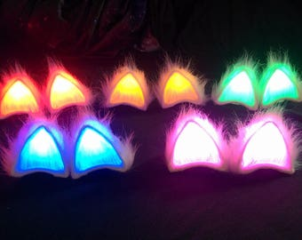 Custom Color LED Cat Ears Glowing Fluffy GeekStar Costume Light Up Clip On Battery Powered Cat Ears Handmade Cosplay Ravewear Edc Outfit