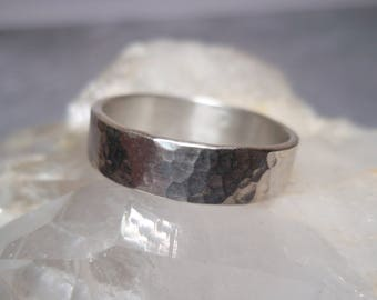 Hammered Sterling Silver Ring Wide Band Size 8