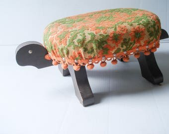 Fabulous turtle footstool - original upholstery