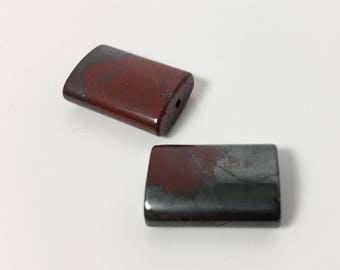 Pair of Puffed Rectangle Hematite and Red Jasper Matching Beads - 19 mm - Blood Red and Metallic Grey