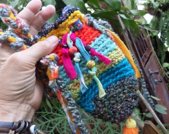 Crochet pouch, Hippie pouch, medicine bag, D93, pouch necklace, phone pouch, hippie festival, festival pouch, necklace, hippie crochet
