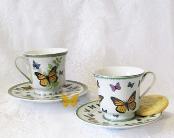 Butterfly Teacup Set of Two