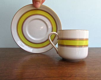Fitz & Floyd Espresso Cup and Saucer, Porcelain and 22ct Gold Made in Japan by FF