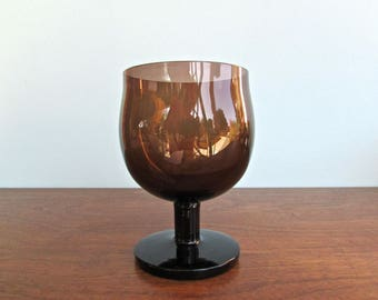 Capers Brown Crystal Wine-Goblet by Block, Modern Design from 1960s Spain, Brown-Smoke Colored Wine Goblet