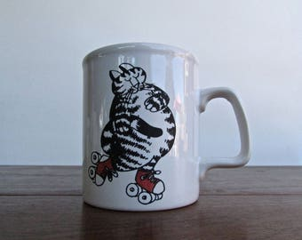 Kliban Cat Mug, Roller Skating Cat - Kiln Craft Made in Stratfordshire Potteries-England Vintage 1980