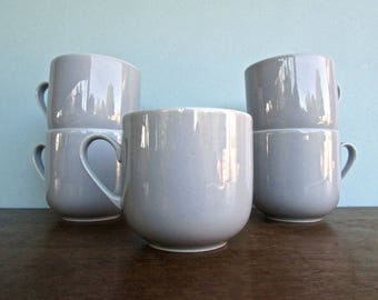 Vintage Tognana Crown Corning, Made in Italy Porcelain Blue-Grey Porcelain Cups w/ Handles, Modern Aesthetic w/ a 40s Color Sensibility