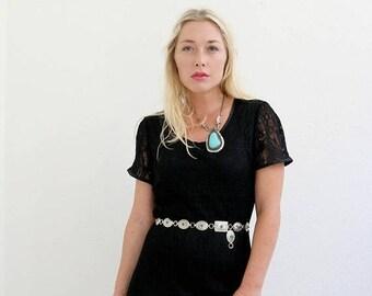 ANNIVERSARY SALE 1990s Black Crochet Boho Dress >>> Size Medium to Large
