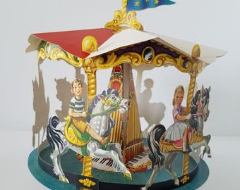 Vintage Merry-Go-Round Die Cut Party Centerpiece Dennison