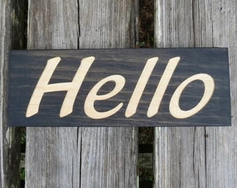 hello sign,wood hello sign,greeting sign,howdy sign,hello wall sign,hello shelf sitter sign,entryway sign,desk hello sign