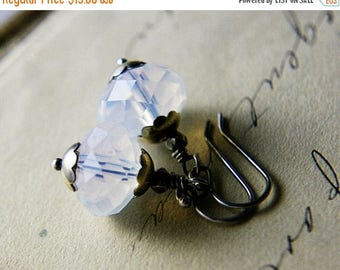 Summer Sale Drop Earrings, Glass Earrings, Opal Glass, Dangle Earrings, October, White Glass, Sterling Silver, Antiqued, PoleStar, Ghostly,