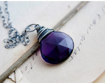 Gemstone Necklace, Pendant Necklace, Hydroquartz, Purple Gemstone, Crystal Necklace, Crystal Jewelry, Sterling Silver, PoleStar, February