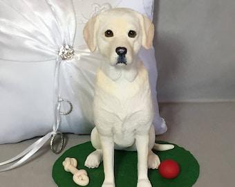 Custom made Clay pet dog cat Sculpture  Labrador wedding cake topper Bride Groom Pet