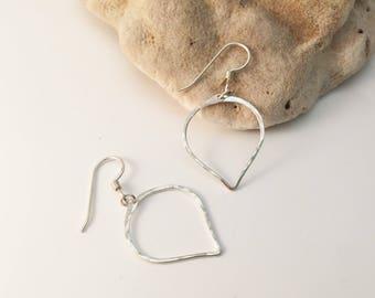 Sterling Silver Hammered Petal Earrings - E471SS -handmade wire jewelry by cristysjewelry