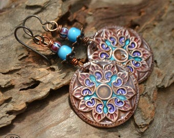 Hand Painted Copper Marrakesh Medallion with Ice Resin and glass Bead