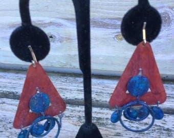 Boho Handmade Handpainted Lightweight Tin Dangle Triangle Clipon Earrings
