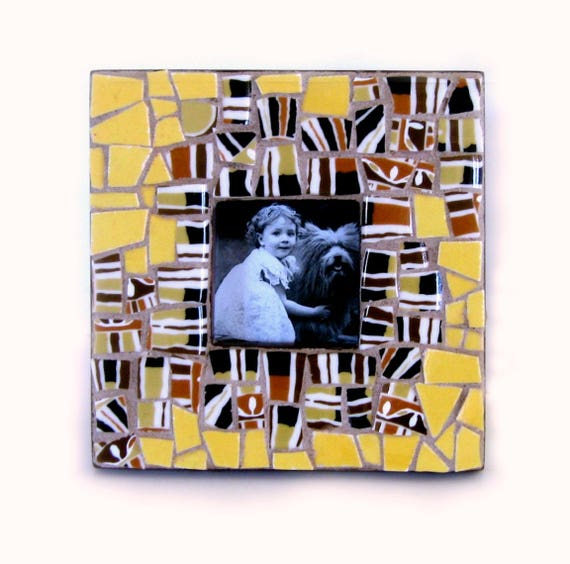 SALE - Mosaic Picture Frame, Brown Yellow Square Mosaic Frame, Brown Print Handcut Tile Mosaic Frame, Brown Gold Print Tile Mosaic Frame