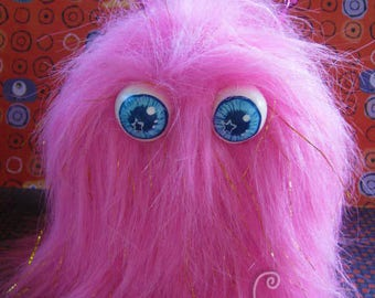MONSTER!! Blue Eyed Monster Box Adorable Hairy Sparkly Pink Cute Monster with Horns! Box to hide your stuff in plain sight! Furry and FUN!