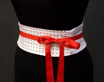 Red and White Polka Dot Dupioni Silk Waist Cincher Corset Belt Obi