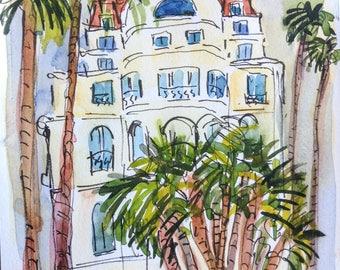 """Cannes hotel, La Croissette, watercolor, 8"""" x 5 3/4"""""""