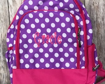Pink and Purple Polka Dot Backpack-Dots Book bag-includes Monogram-School Bag-Diaper Bag