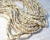 SALE Rare Shell Heshi Rondelle Beads 24 Inch 3mm, Natural Tiger Conus Shell Beads
