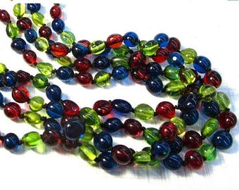 20% OFF SALE Rare Cherry Red Amber Green Amber London Blue Amber Beads Necklace 18 Inches,  Russian Gemstone #55O