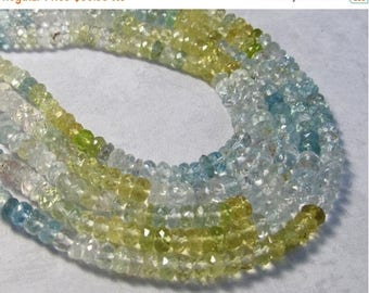 SALE Out Of TOWN Natural Aquamarine ROndelle Beads 5mm,  Heliodor Yellow Aquamarine Beads