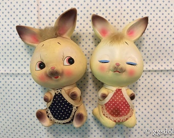 Vintage Ceramic Bunny Rabbit Couple Big Eyes with Aprons Coin Banks