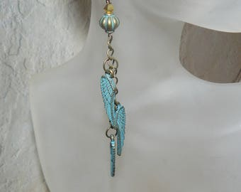 Long Earrings, Angel Wing Earrings, Unique Handmade, One of a Kind, Dangle Earrings, Boho Chic, Handmade Jewelry, Unique Gift for You