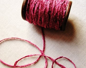 Mauve rayon Chenille Ribbon on a Hand painted espresso wooden spool