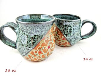 Handmade Pottery mug, Stoneware coffee mug, Large Ceramic mug, 14 - 16 oz -In stock