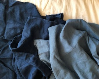 Extra wide linen fabric 100% pure flax cloth stone washed soft linen medium weight width 110 inch Mediterranean Blue and Navy Blue