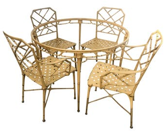Brown Jordan Calcutta Faux Bamboo Dining Set 2 Arm, 2 Side Chairs & Table