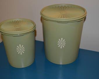 2 Vintage Green Tupperware Cannisters, Sunburst Lids, White Sunburst Design