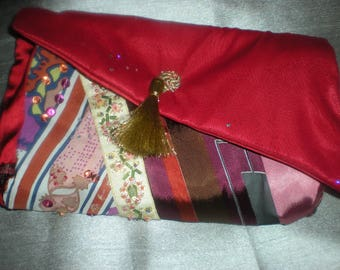 Small red patchwork clutch