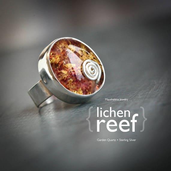 Lichen Reef - Lodolite Quartz Crystal Sterling Silver Statement Ring