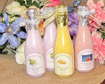 Sparkling Champagne Bath Salts Assorted Fragrances You Pick Your Fragrance Nature's Scentsations Handmade 8 Oz Bottle Fun Gift