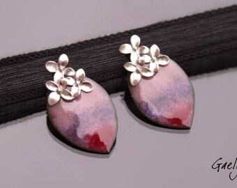 Delphine - copper earrings enamel, floral - studs Style Bohemian - bo gaelys
