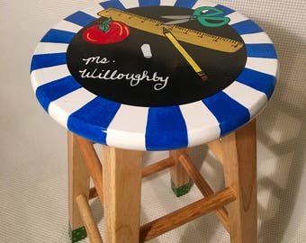 "Teacher Chair // Whimsical Painted Furniture, Teacher Gift, 24"" Painted Bar Stool // Teacher Theme Stool // Custom painted stool"