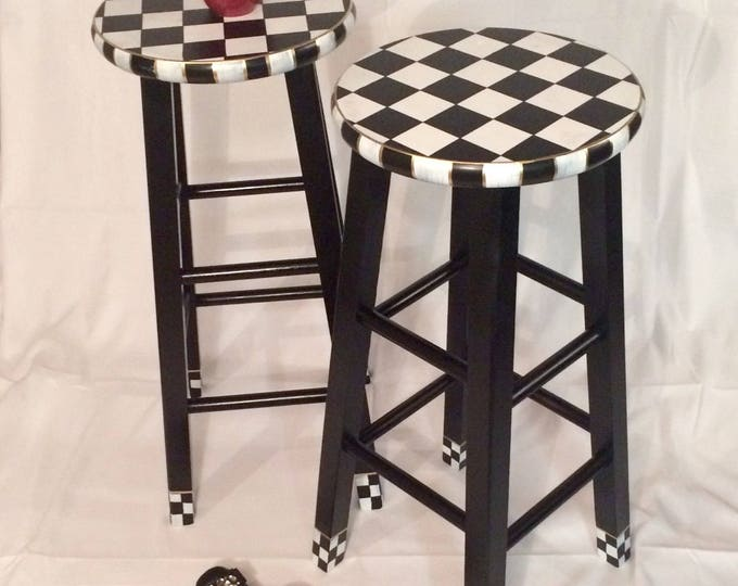 "Whimsical Painted Furniture, 24"" Painted round top bar Stool//Whimsical painted stool//Checkered Stool Black White"