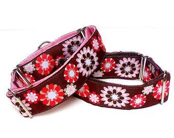 Martingale Dog Collar or Tag / Buckle Dog Collar Pink Brown Floral CARISSA, Safety Collar, Greyhound Collar, Sighthound collar