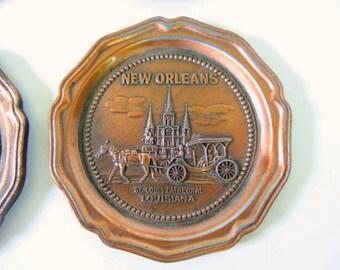 4 Vintage New Orleans Souvenir Coasters, St. Louis Cathedral
