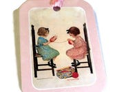 2 Gift Tags, 2 Vintage Girls Winding Yarn, Childhood Friends, Pink White Red Brown handmade hang tags, Party Favor Tags, Takuniquedesigns