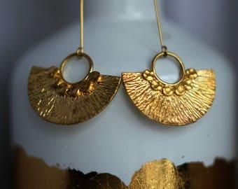 Gold Brass Fan Earrings, Half Circle, Hammered Dangles, Modern, Bohemian, Long Earrings